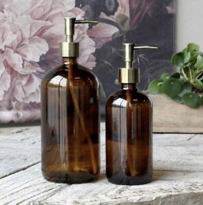 Amber Brown Glass Bottle Soap Dispenser 480ml