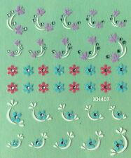 Nail Art 3D Decal Stickers Flowers & Butterflies XH407