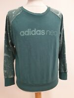 P110 WOMENS ADIDASD NEO BLUE FLORAL SLEEVE COTTON CREW NECK JUMPER UK M EU 38