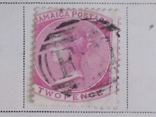 Used LH 1871 Issue Rose Jamaica 2 Pence Postage Stamp/Queen Victoria