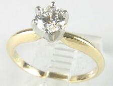 Lady 14K Solid Gold Platinum Engagement Solitiare Diamond Ring