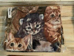 Cute Cat Kitty Fleece Throw Blanket NEW NIP