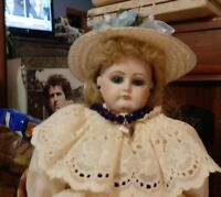 14 Inch Reproduction French Fashion Doll In Antique Dress And Decorated Hat