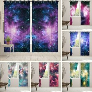 Galaxy Print Blackout Window Curtains Eyelet Thermal Ring Top Curtains CN