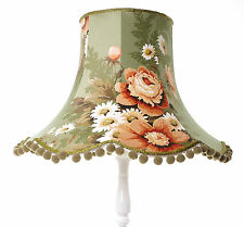 Green lampshade in gorgeous vintage floral fabric for standard lamp or ceiling
