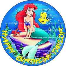 LITTLE MERMAID ARIEL: ROUND:Personalized  Edible Cake Topper FREE SHIP in Canada