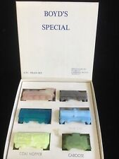 Boyd Art Glass 6 pc Train Set New in Box mixed colors