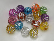200 Mixed Color Sparkling Spiral Silver Dots Acrylic Round Beads 8mm