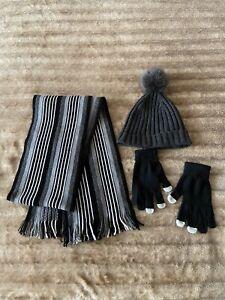 BANANA REPUBLIC HAT+SCARF+GLOVES SET-GREY/BLACK/WHITE-NEXT DAY POST-LONDON