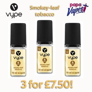 VYPE E-LIQUID 3 for £7.50 Offer!    SMOKEY LEAF TOBACCO   3MG 6MG 12MG 18MG