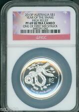 2013-P $1 Australia Lunar SNAKE HIGH RELIEF 1 Oz PROOF Silver Coin NGC PF69 PR69
