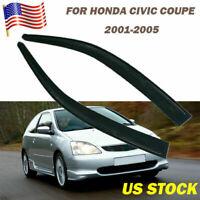 2x Front Door Window Visor Vent Fit Honda Civic Coupe 2001 2002 2003 2004 2005