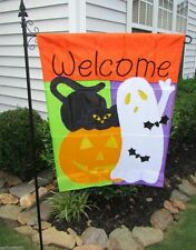Welcome Halloween Large House Flag Ghost  Black Cat and Pumpkin Appliquéd  NEW!