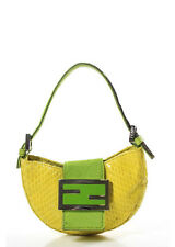 AUTH FENDI Yellow Python Snakeskin Silver Tone Mini Handbag BC6695 MHL