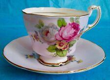 Paragon Rare Lavender Color Large Roses Fine Bone China Cup & Saucer