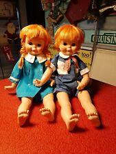 Vintage 1971 Eegee Pair George & Georgette Pipi Red Haired Dolls