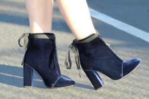 ZARA HIGH HEEL VELVET ZIPPER ANKLE BOOTS NAVY BLUE WITH ZIP LACES BOW 7117/101