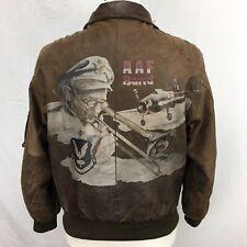 VTG JG International Glenn Millers AAF Band Brown Leather Mens Bomber Jacket 80s