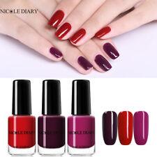NICOLE DIARY 3Bottles 6ml Nail Polish Red Purple Colors Peel Off Nail Varnish