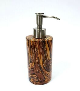 BROWN,TAN,BLACK STONE MATERIAL & DESIGN SOAP DISPENSER,SILVER NICKEL PUMP