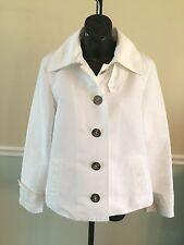 Ralph Lauren White W/Silver Accents Button Down Polyester Jacket - Medium