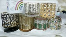 Bath and Body Works 3 Wick Candle Holder chevron Pedestal Unicorn xmas Gems gold