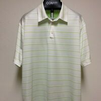 Adidas ClimaCool Mens Golf Polo Shirt Short Sleeve Size XL Stripped Green White