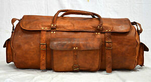 New Men's Brown Leather Handmade Vintage Duffel Luggage Gym Overnight Travel Bag