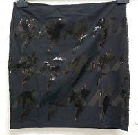 NEU ausgefallener,eleganter Damen Stretch Mini Rock schwarz mit Pailletten Gr.40