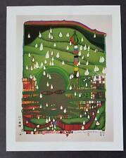 """Friedensreich Hundertwasser """"Green Power"""" Mounted Offset Lithograph 1986"""