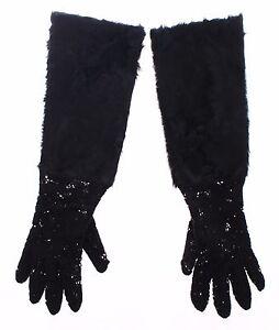 DOLCE & GABBANA Black Lace Wool Lambskin Fur Elbow Gloves s. 7 / s