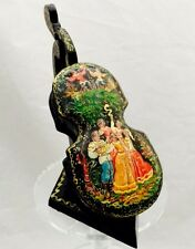 Violin Musical Instrument Russian Girls Lacquer Box  Hand Painted Mstera B-1