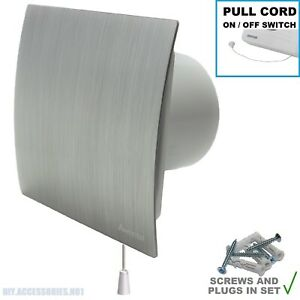 """150mm 6"""" Silver Extractor Fan  PULL CORD Switch  Bathroom Kitchen Escudo WES150W"""