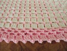 Handmade NEW crochet baby  blanket  White & pink Afghan Shawl