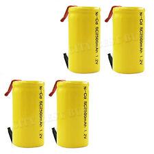 4 x Sub C 2500mAh 1.2V Ni-Cd NiCd Rechargeable Battery W/ Tab Yellow