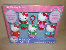 5 Pack Hello Kitty Mini Bubble Bath Decanters & Interchangeable Clip~NEW IN BOX!