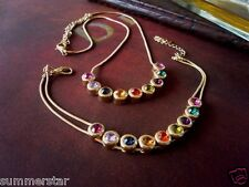 Multi-Color Crystal  Beads Gold   Necklace