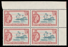 Solomon Islands 1963 QEII 1½d slate-green & brown-red block superb MNH. SG 84a.