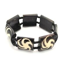 Maasai Market African Mud cloth print Pin Wheel Stretch Bone Bracelet 626-67