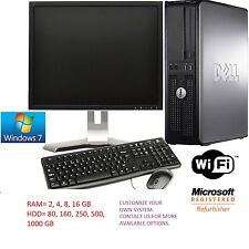 FAST DELL COMPUTER SET PC UP TO  8GB RAM 500GB HDD WIFI CHEAP WINDOWS 7 MONITOR