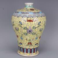Collect Chinese Qing Dynasty Qianlong Porcelain Famille Rose Fu Shou Flower Vase