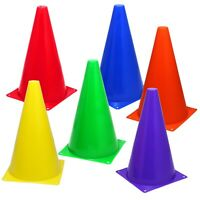 "6 Assorted-Color 9"" Cones Training Marker Pitch Soccer Football Agility Traffic"