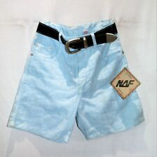NAF Brand Women's Sky Blue Wide Belt Shorts Size 8 BNWT #TF77