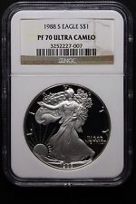1988 S AMERICAN SILVER EAGLE PROOF PF70 ULTRA CAMEO-PERFECT coin for registry.
