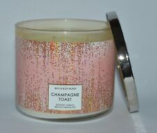 BATH BODY WORKS CHAMPAGNE TOAST SCENTED CANDLE 3 WICK 14.5 OZ LARGE GOLD GLITTER