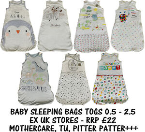 BABY SLEEPING BAG EX UK STORES BOYS GIRLS COTTON 0M-2Y TOG 0.5-2.5 BRAND NEW
