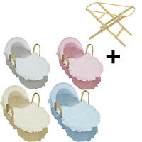 Broderie Anglaise Moses Basket  With Mattress, Covers And Natural Folding Stand