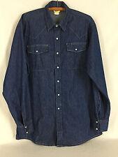 Vintage Work N Sport Denim Shirt Pearl Snap Western Long Sleeve USA Size Tall XL