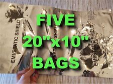 5 XL ANTISTATIC MILITARY BAGS 20x10 MIL-PRF-81705D ESD FARADAY CAGE SURVIVALISTS