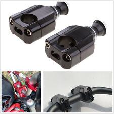 "2 Pcs Black 1 1/8"" 28mm Motorcycle ATV Handlebar Mount Riser Clamp Kit Black CNC"